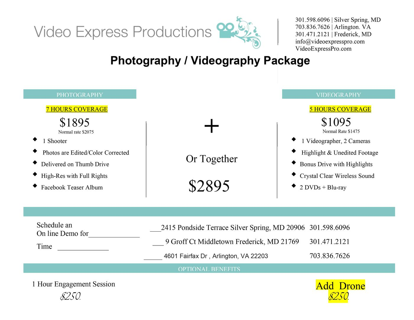 Wedding Photography & Videography Packages in Arlington, VA