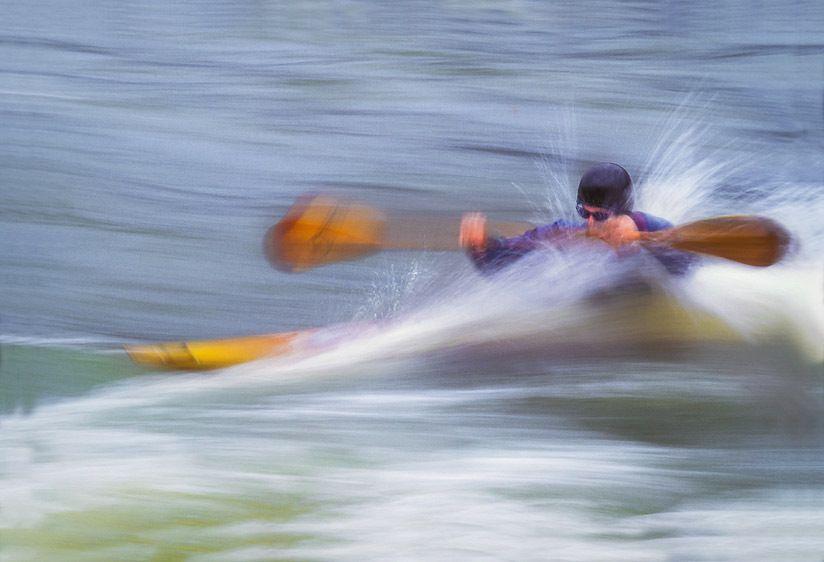Kayaker in River Spray