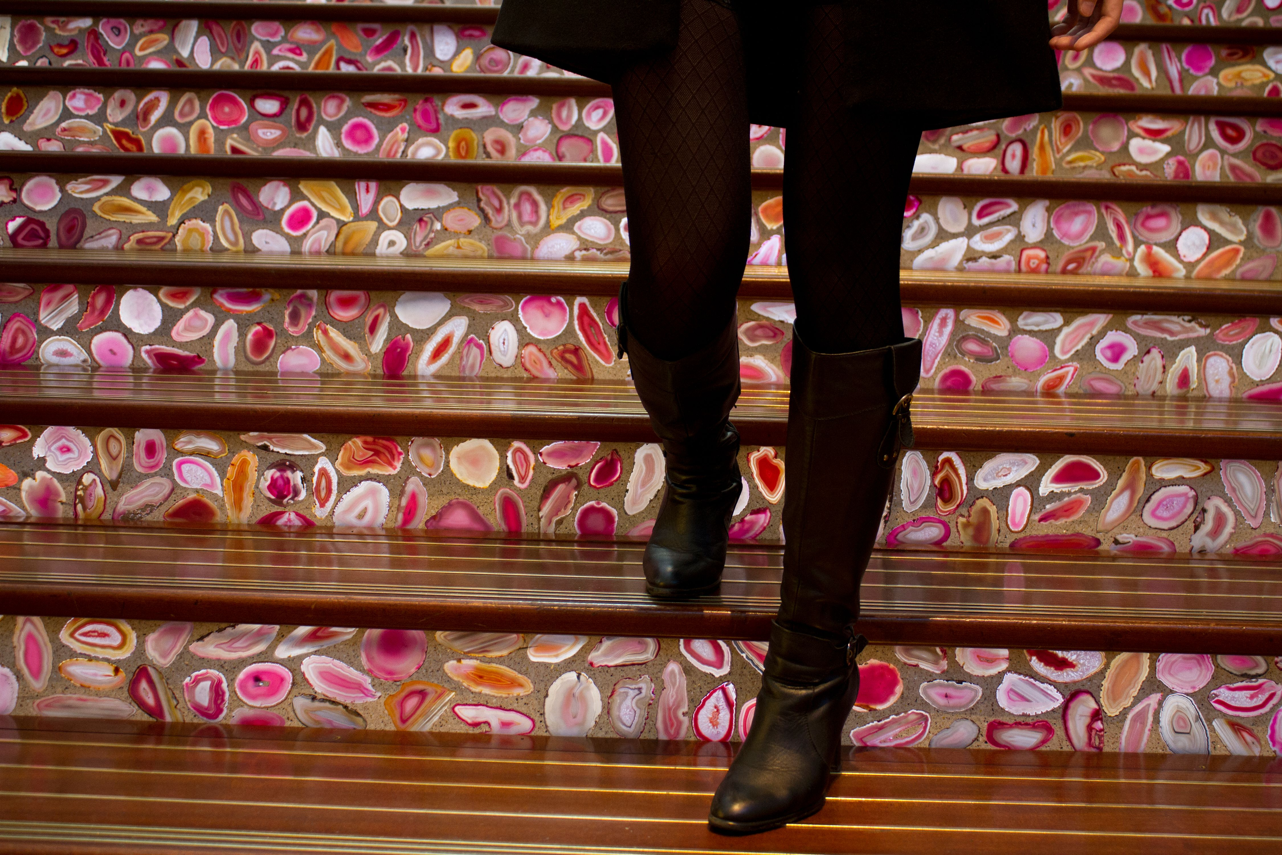 Booted Visitor Walks on Agate Lined Stairs, Las Vegas, Nevada