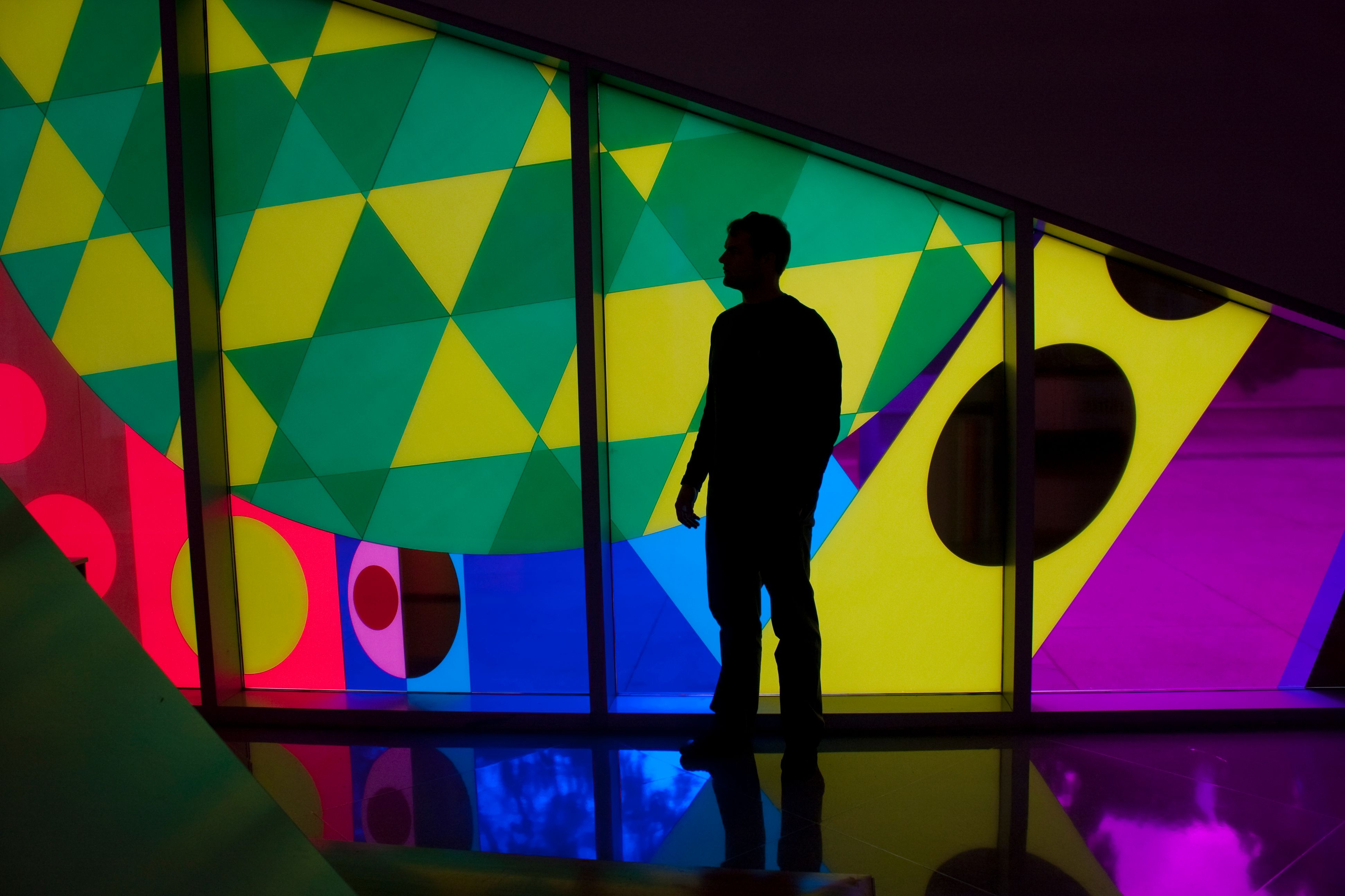 Visitor silhouetted against colors of installation wall