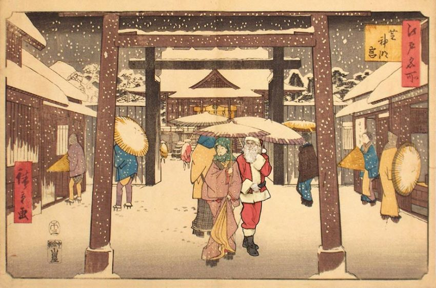 Hiroshige -  visitors to the shiba jingu palace