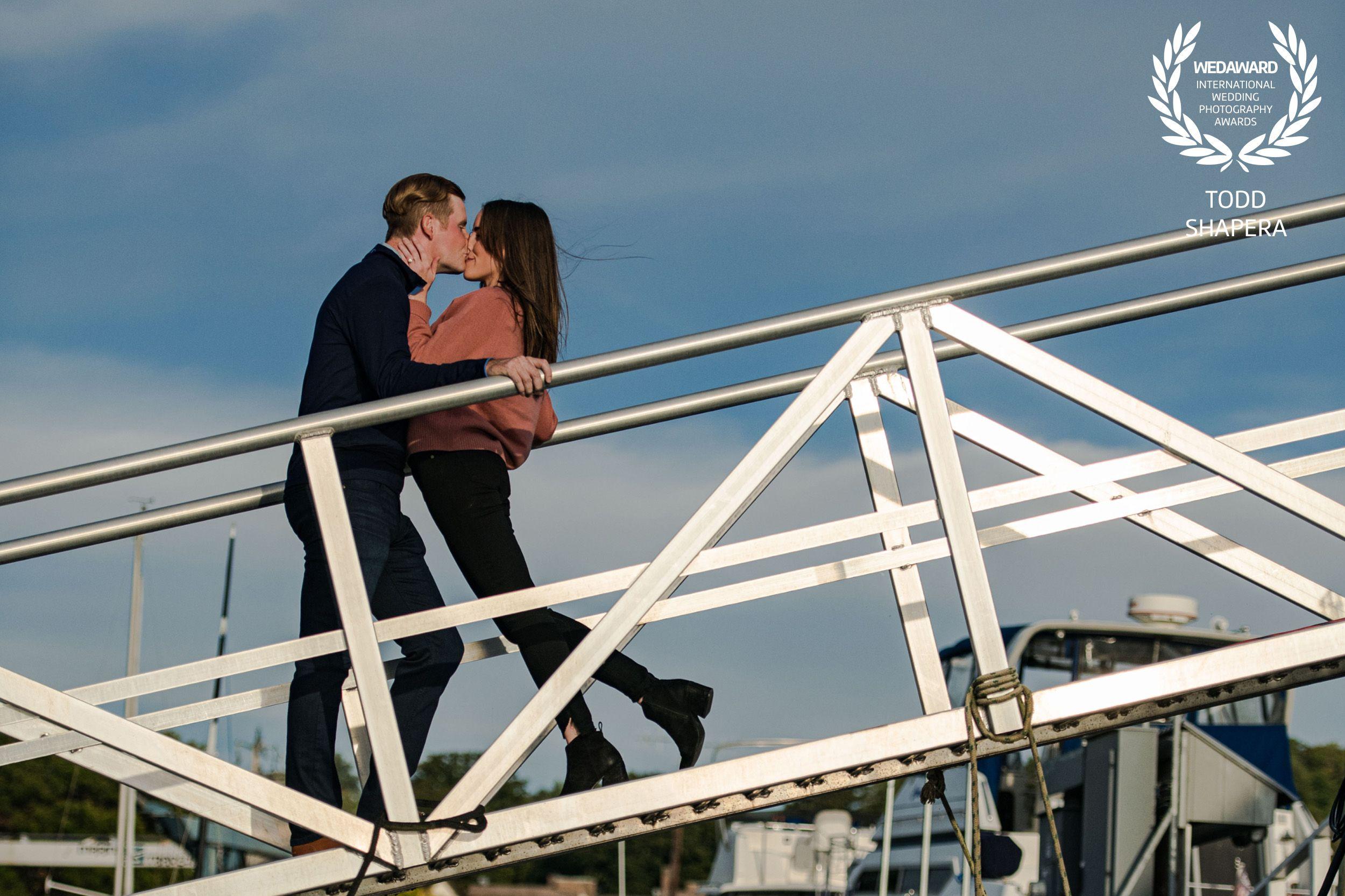 Westchester Sunset Engagement Kiss