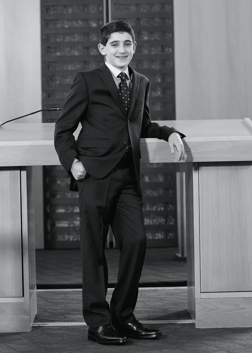 Bar Mitzvah Portrait in Black and White