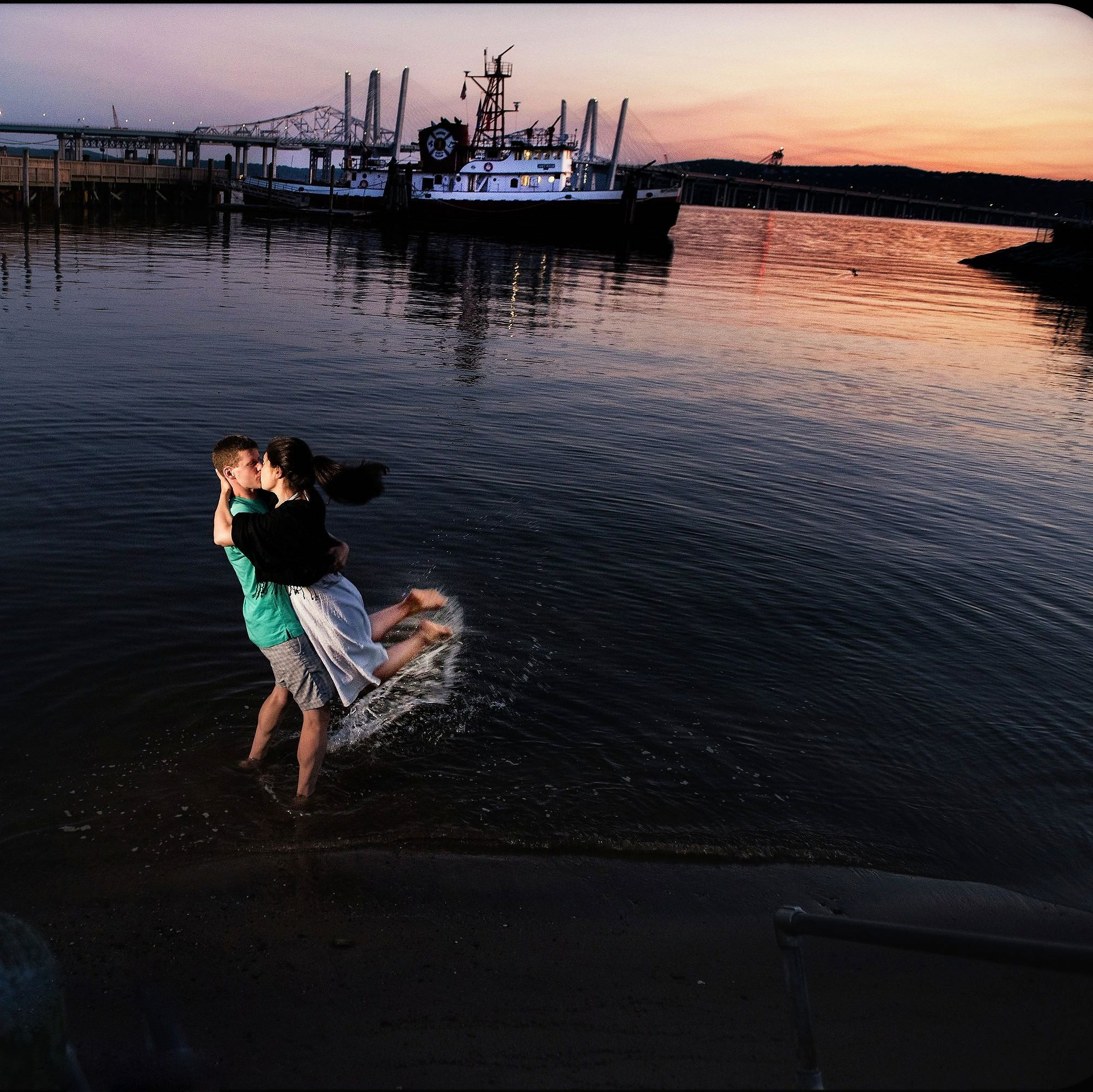Hudson River Sunset  Engagement Photography