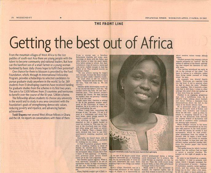 For Ghana- Ford Foundation Scholar