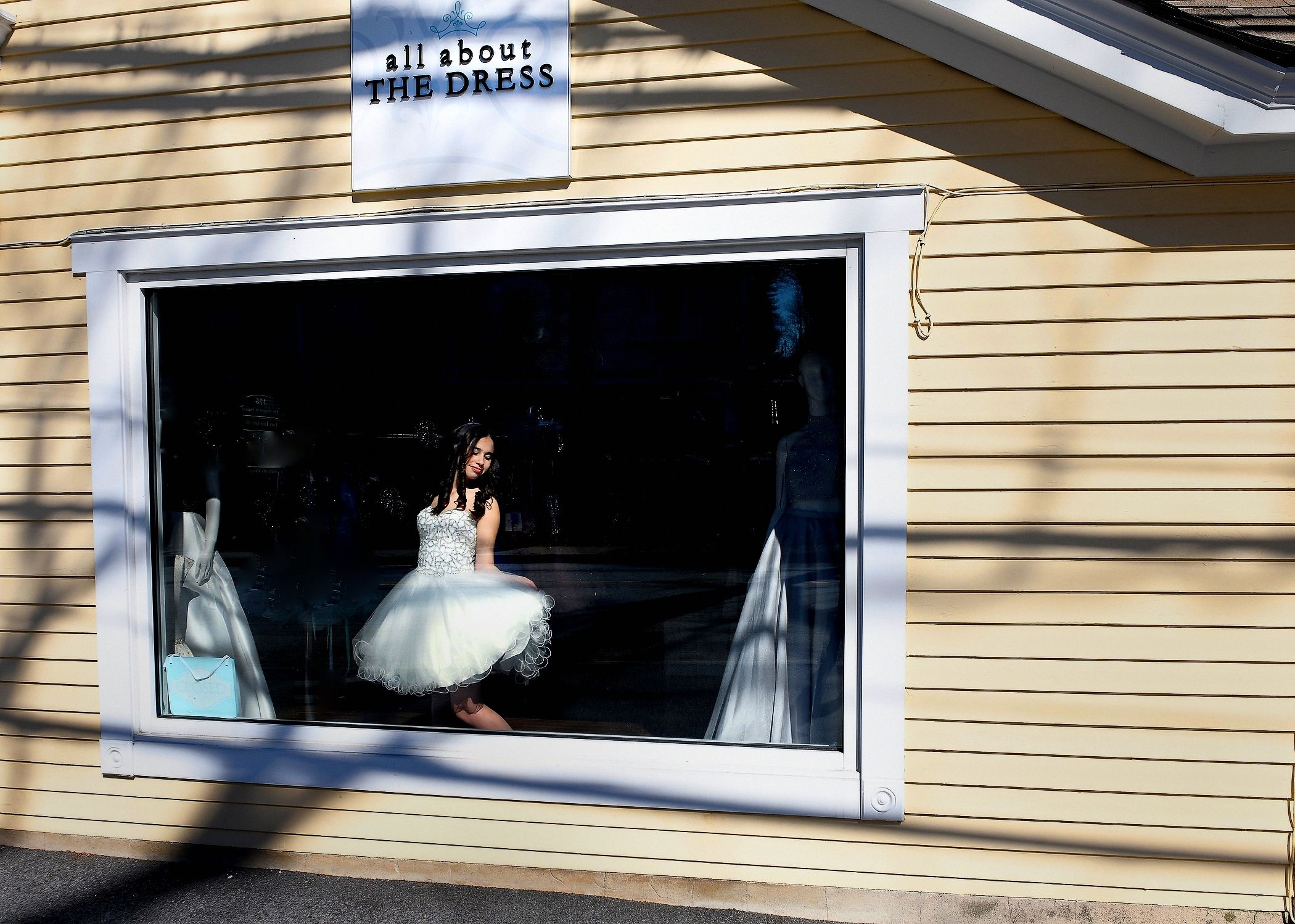Bat Mitzah Girl and Her Dress In The Window