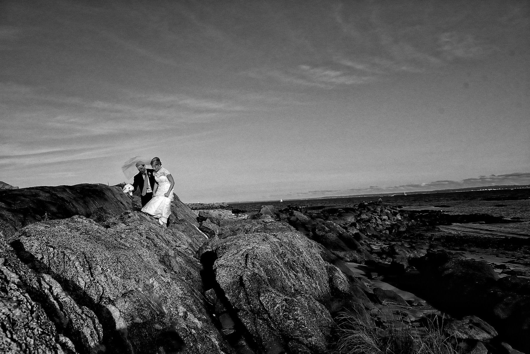 Long Island Sound Wedding Portrait