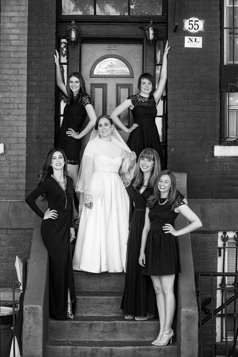 Bride, Her Bridesmaids and a Brooklyn Brownstone