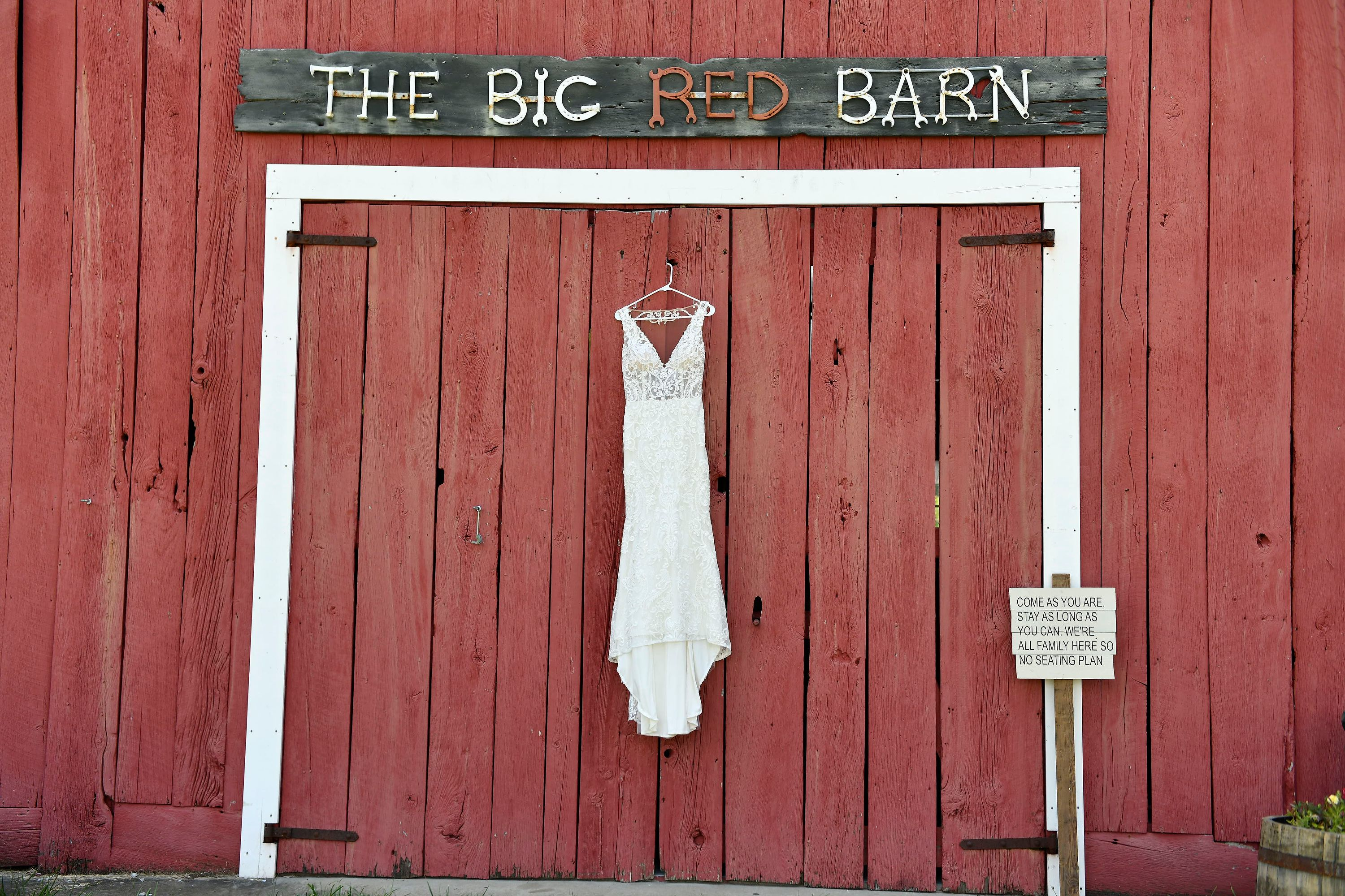 Bridal Gown Hanging At The Barn