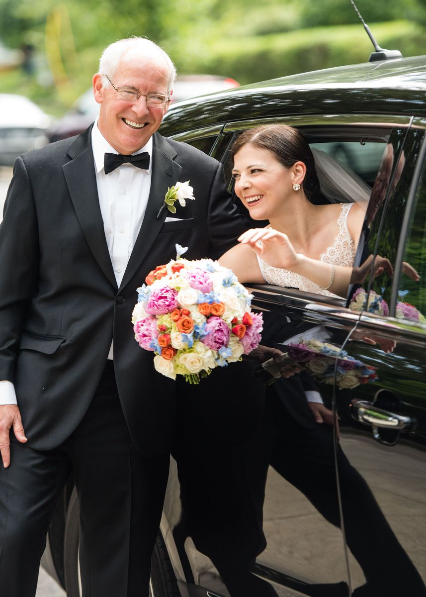 New York Bride, Dad, Bouquet and Limousine