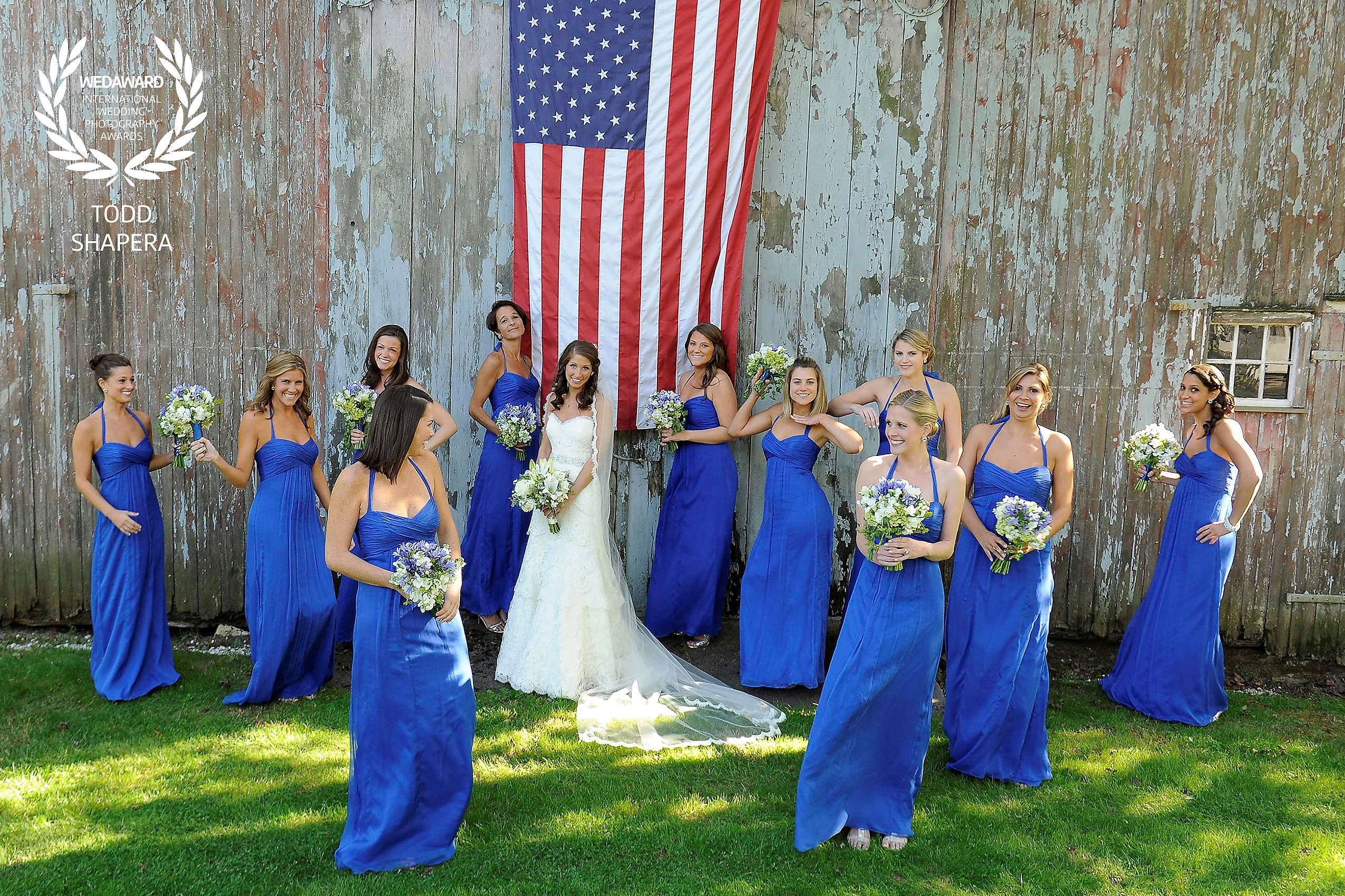 Bridesmaids and the rustic barn.