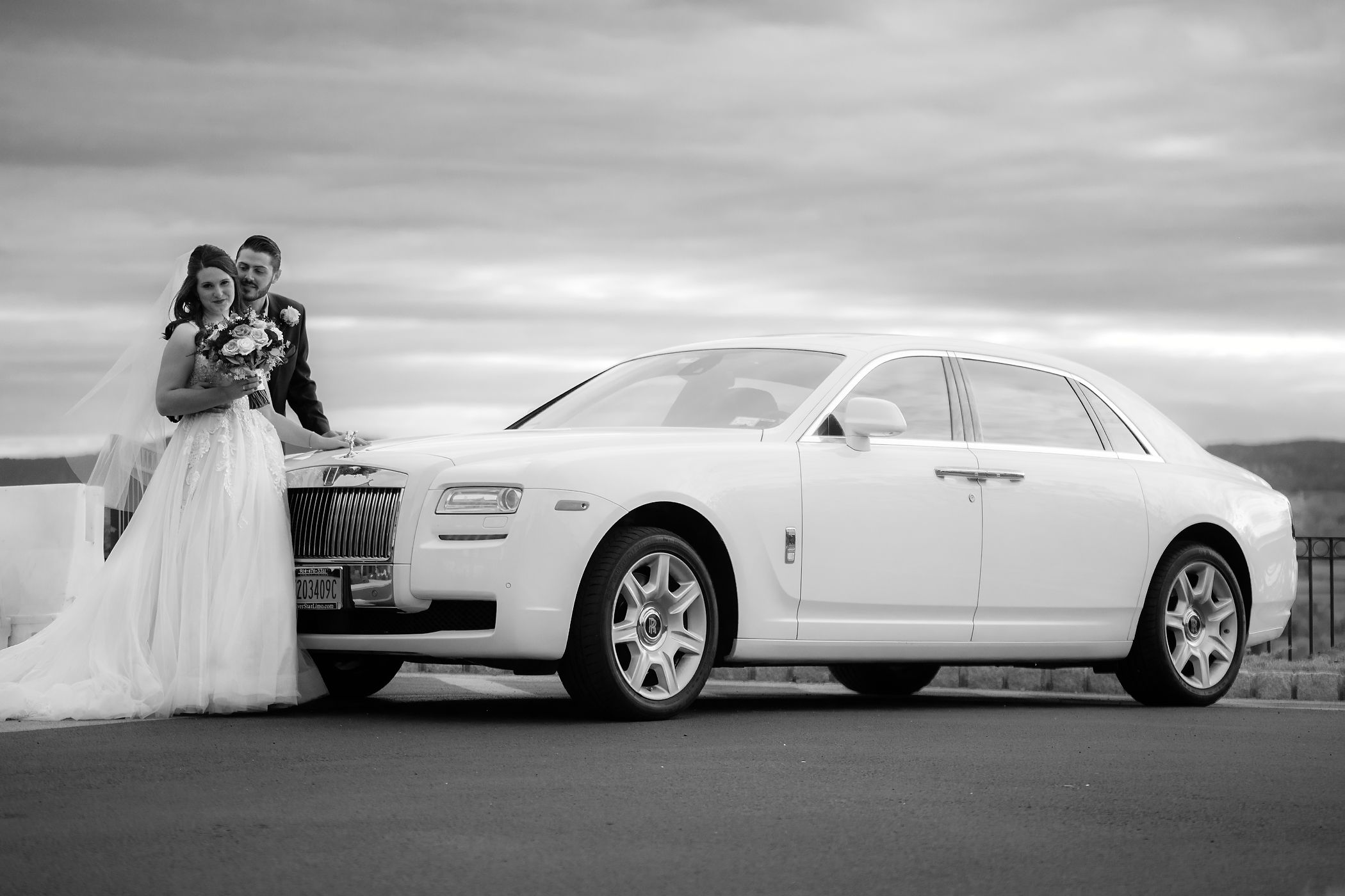 Black and White Wedding Portrait With Rolls