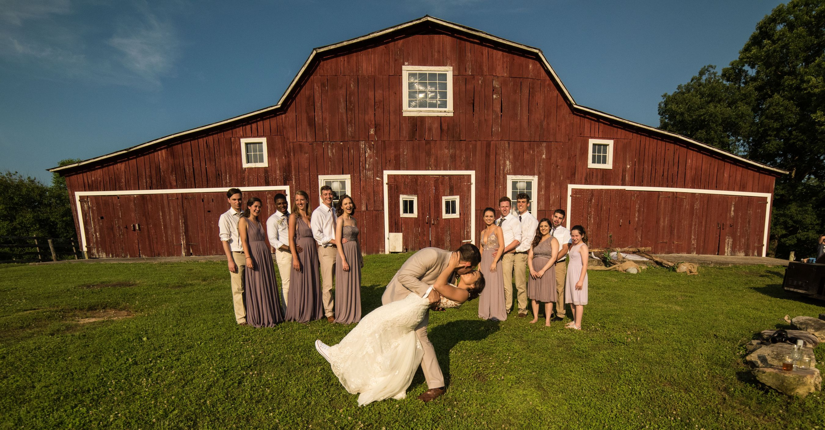 Bridal Party At The Barn Wedding
