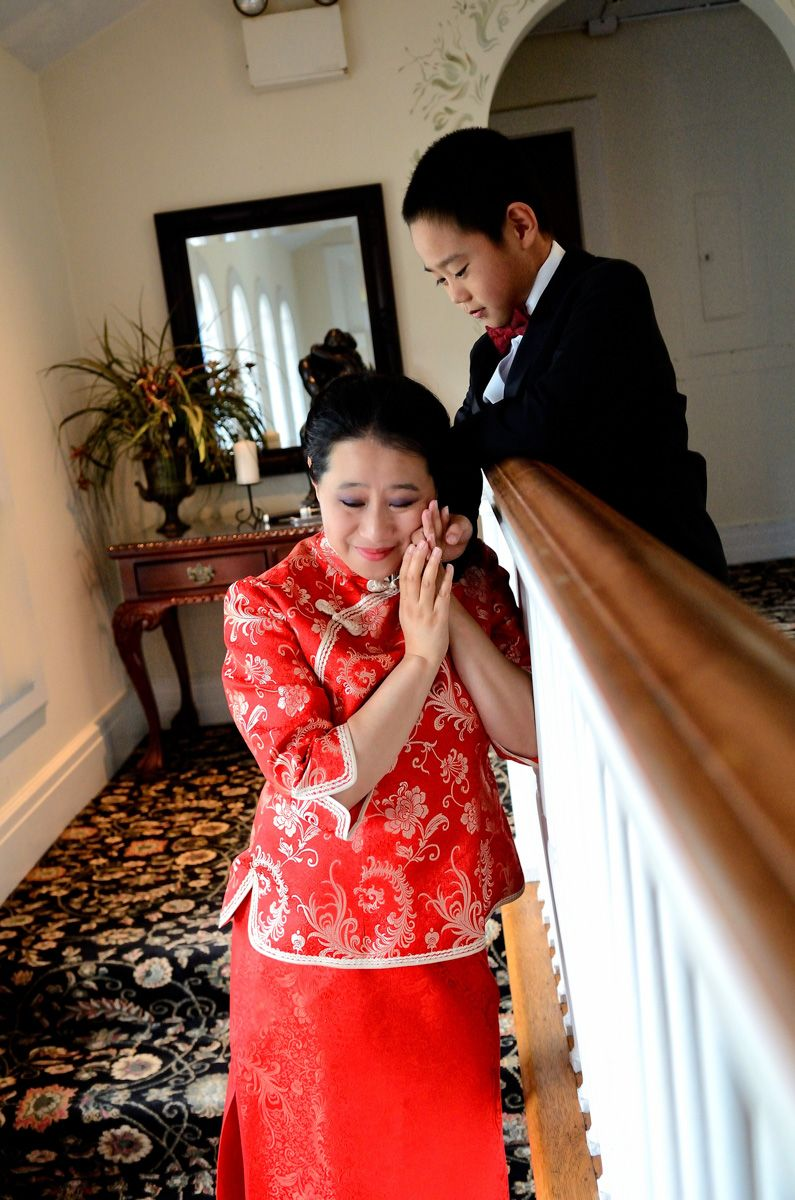Chinese Bride Embraces Her Son