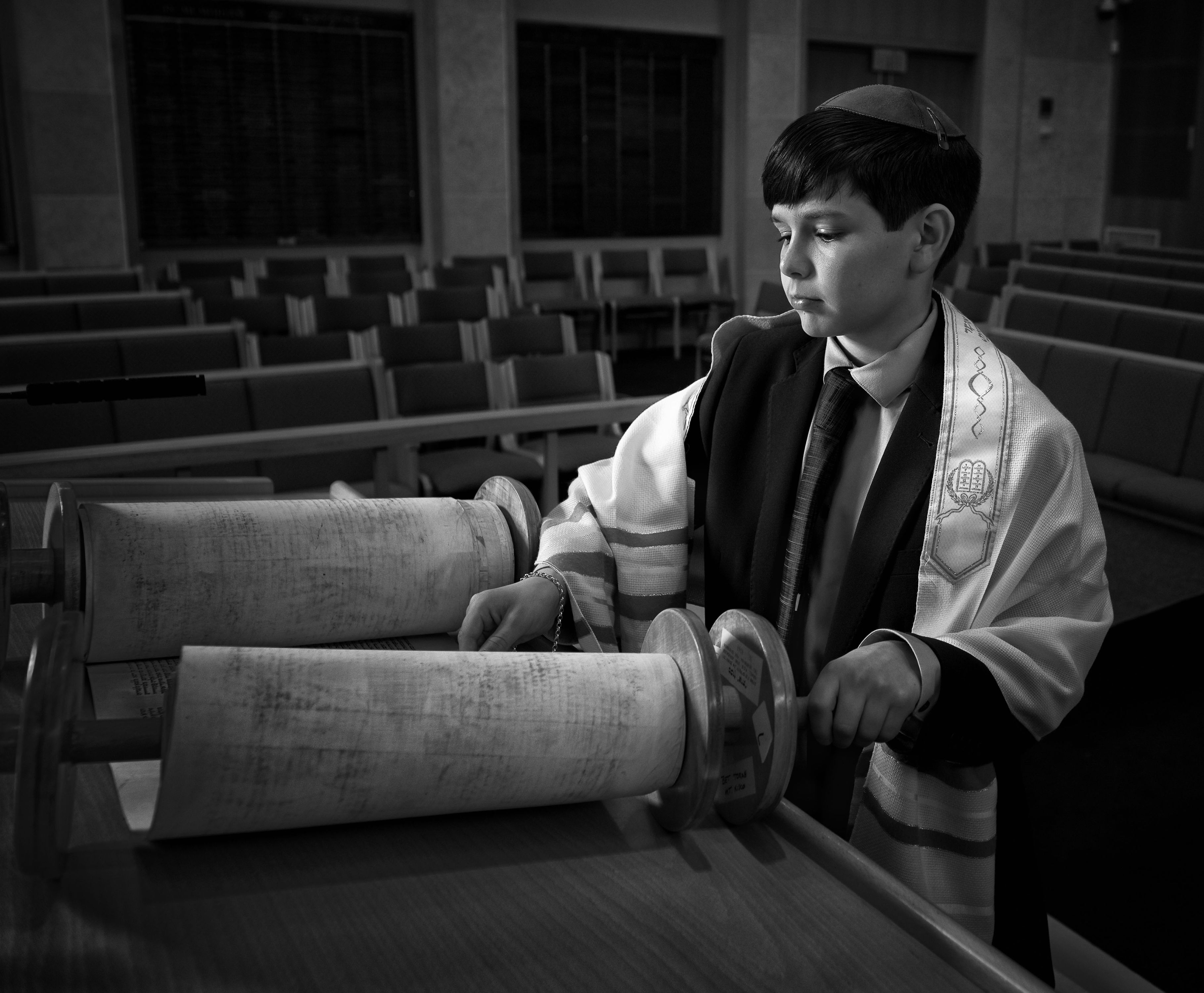 Bar Mitzvah Portrait  With Torah In Black and White