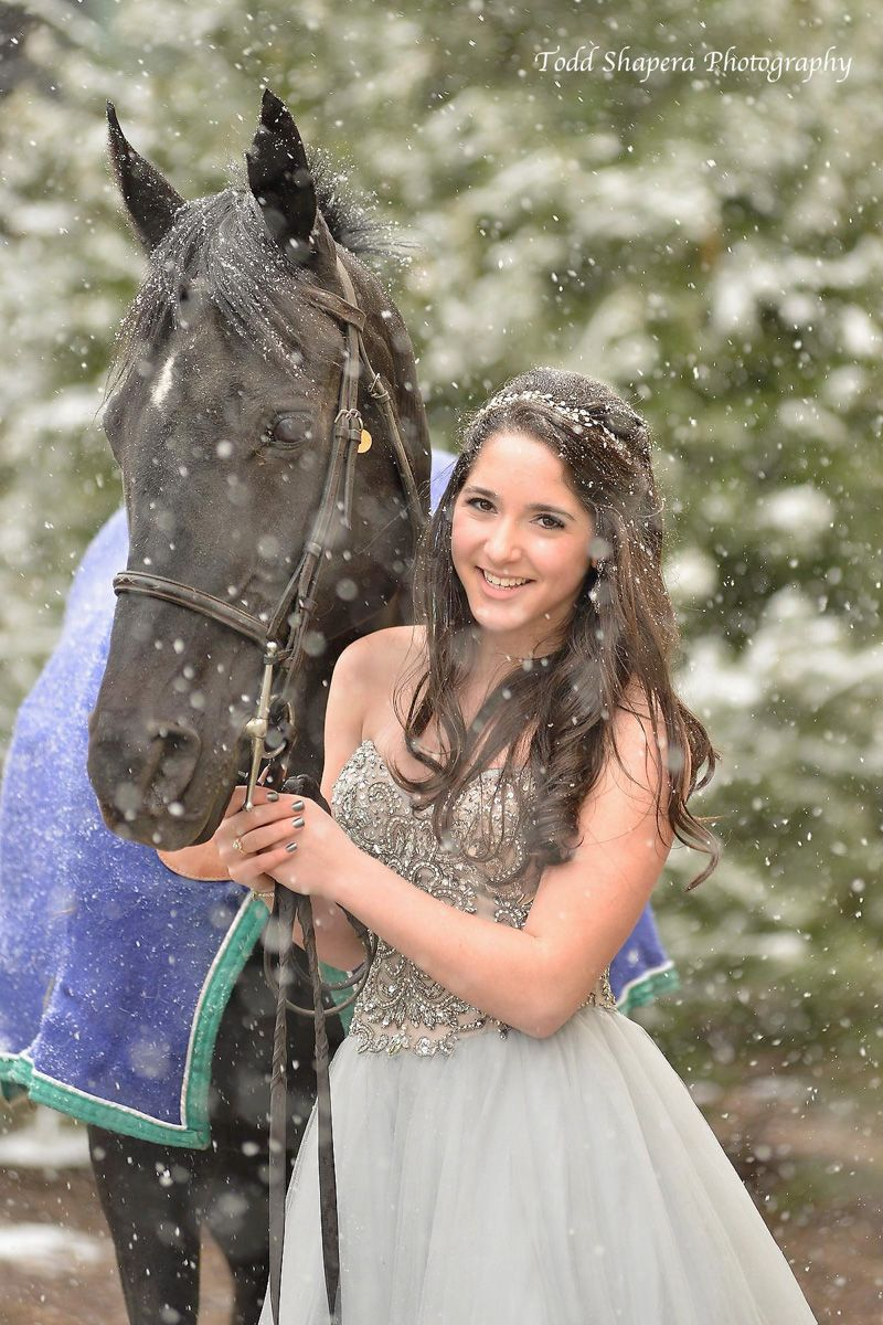 Bat Mitzvah Celebrant  And Her Horse In The Snow