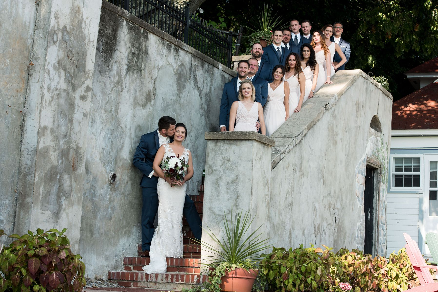 Finger Lakes Bridal Party On The Stairs
