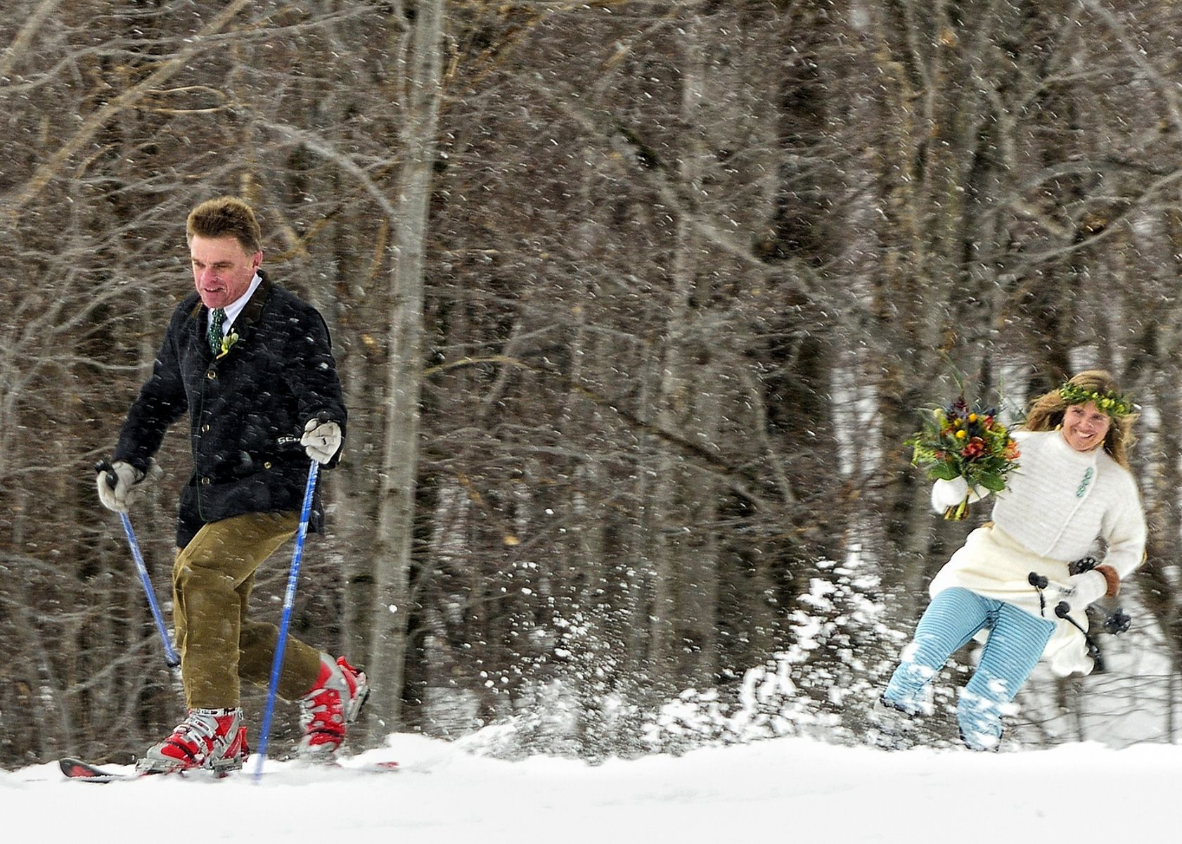 Skiing Bride  In Vermont