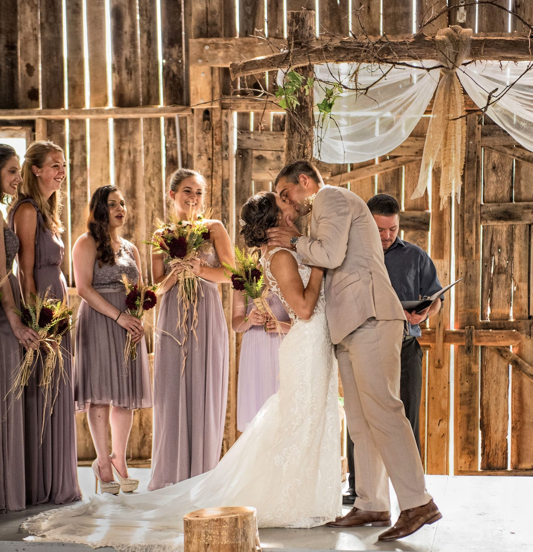 Barn Wedding Kiss