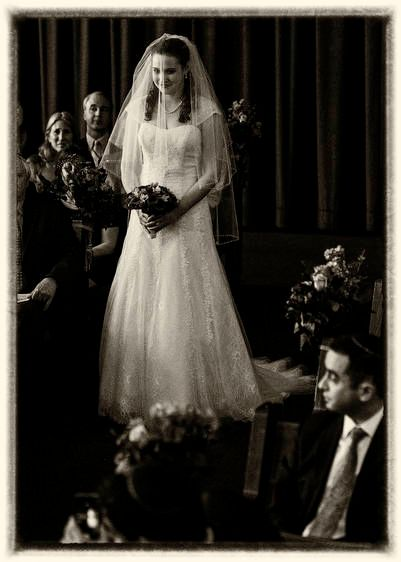 Bride enters her ceremony in black and white