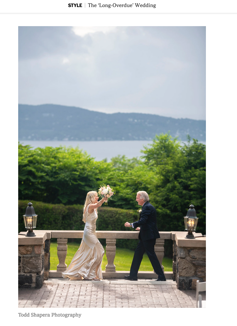 The Wedding Couple Backed By The Hudson River