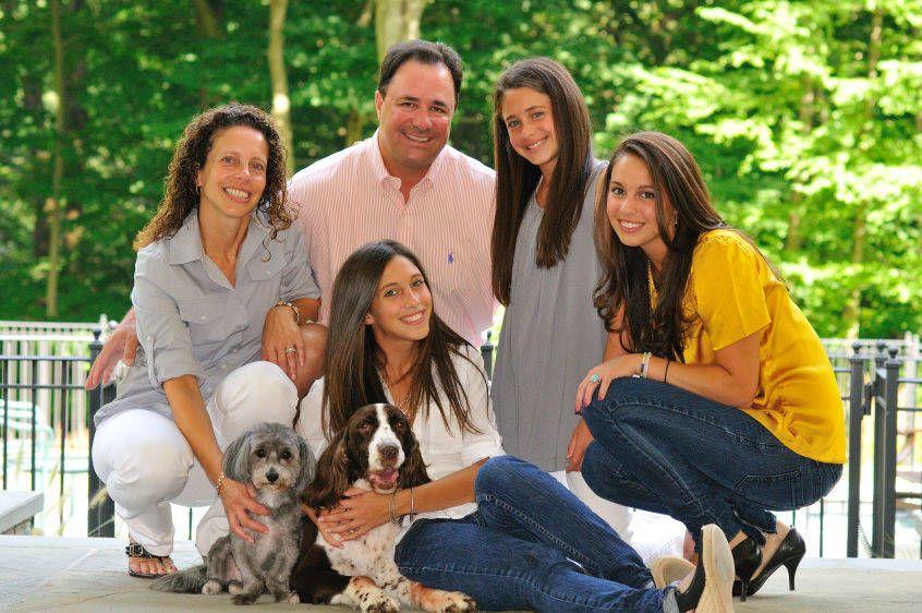 Family Bat Mitzah Portrait With Dogs
