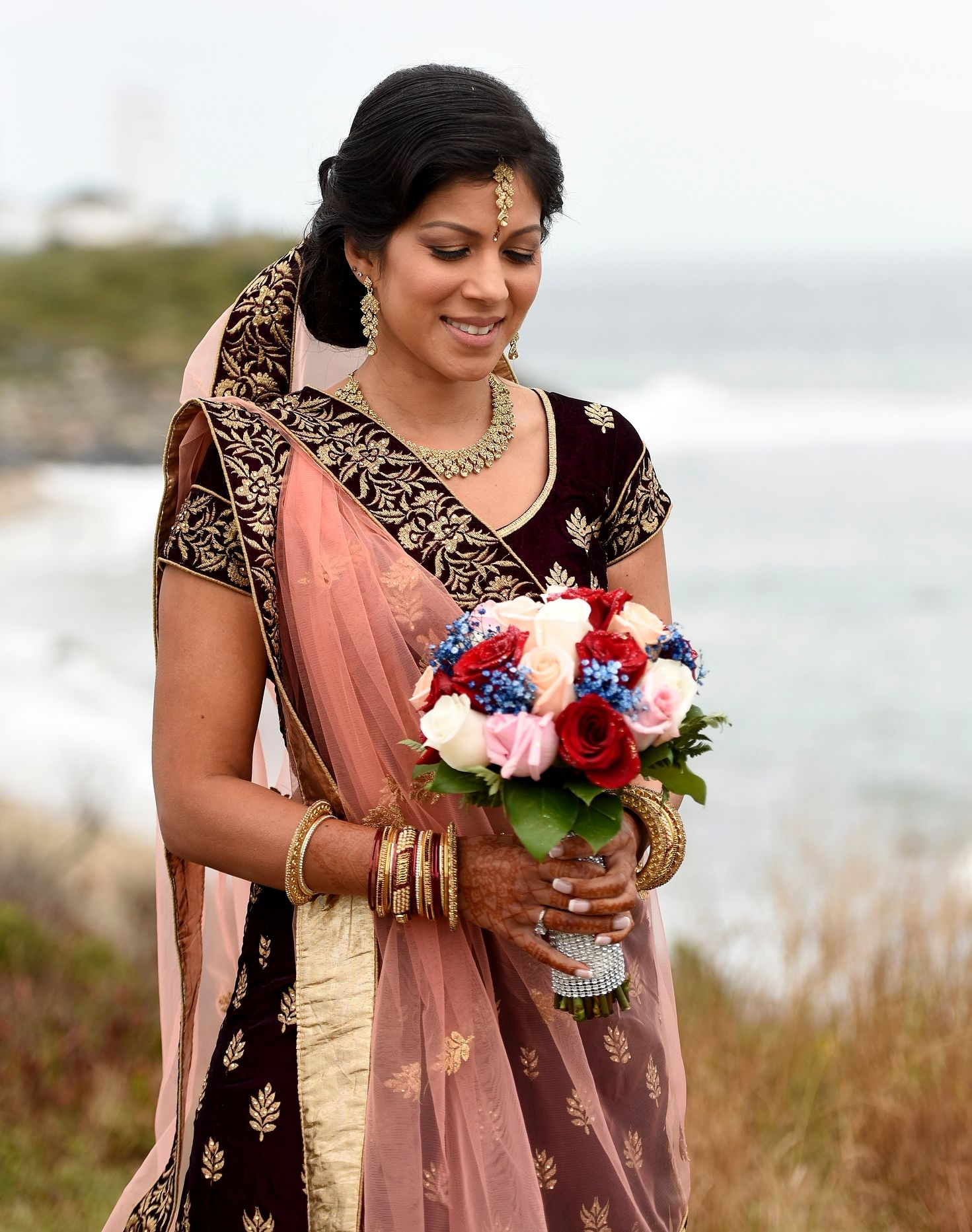 A Hindu Bride With Bouquet Before Her Montauk Wedding