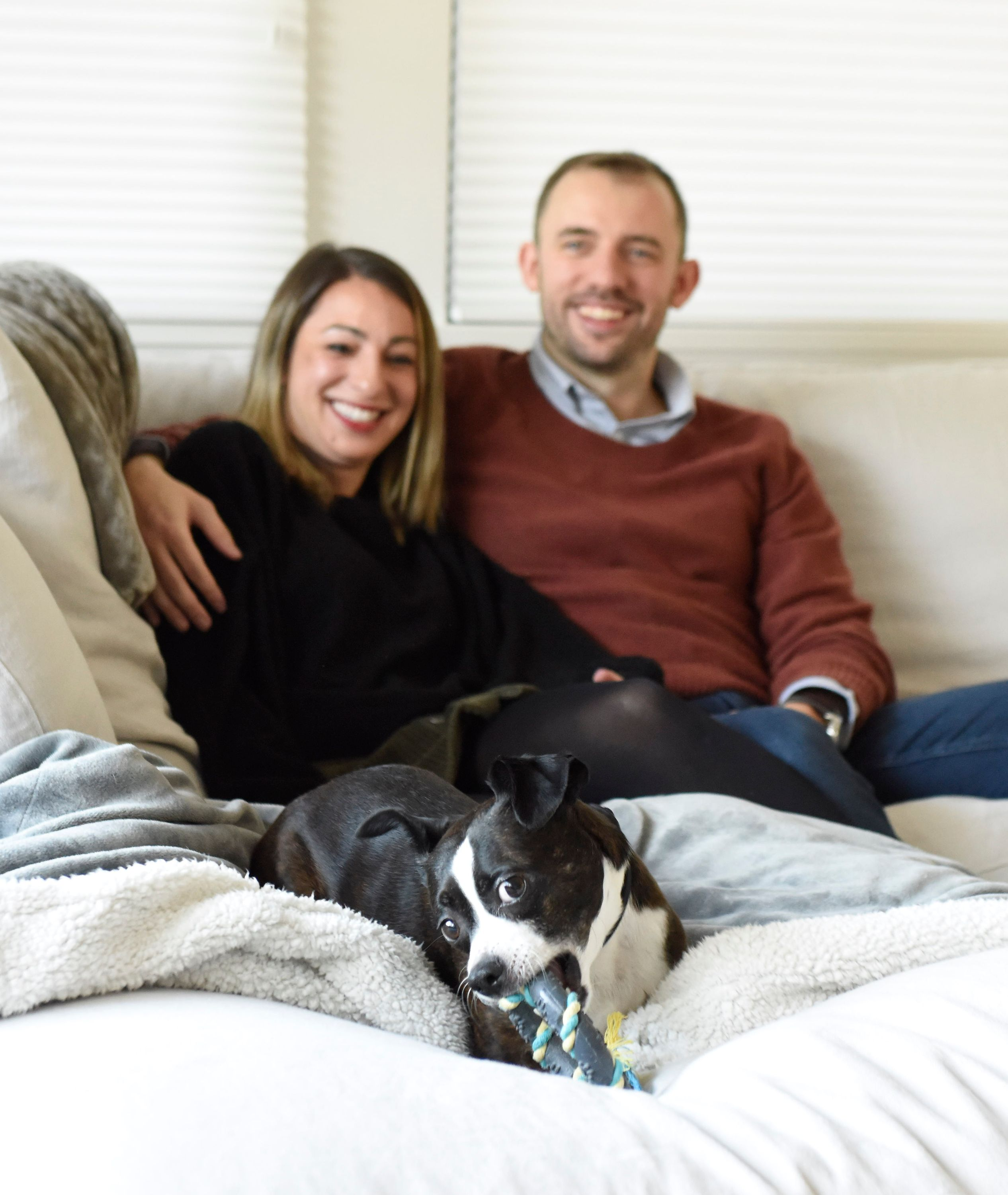 Westchester Engagement Portraits At Home With Puppy Indie