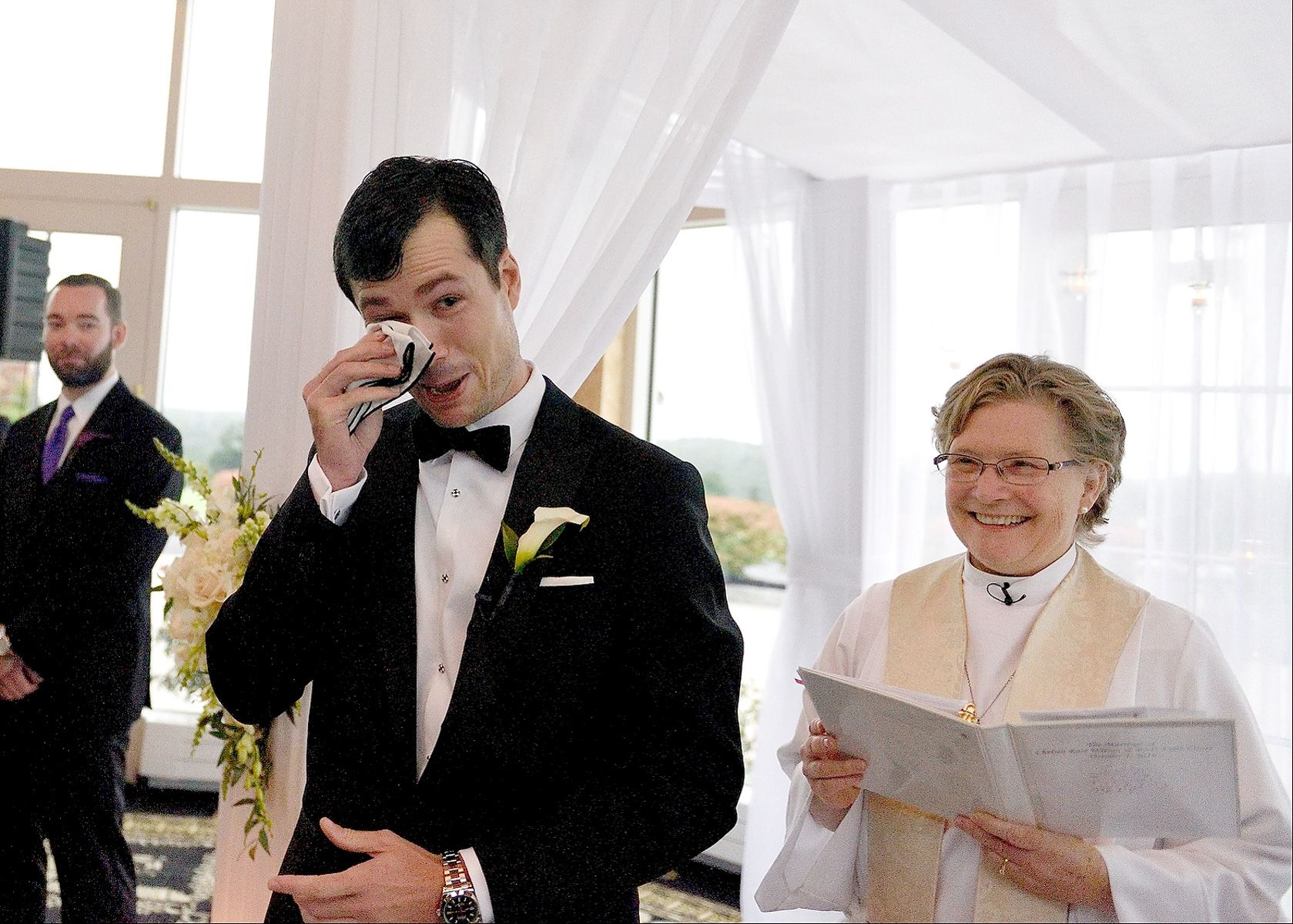 A Groom's Emotion At The Golf Club Ceremony