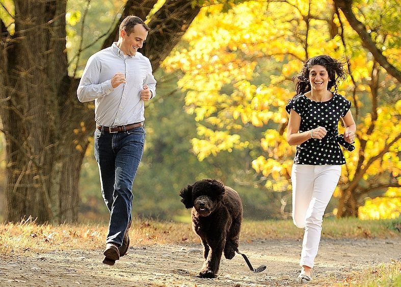 Rockefeller Preserve Engagement  Shoot With Dog