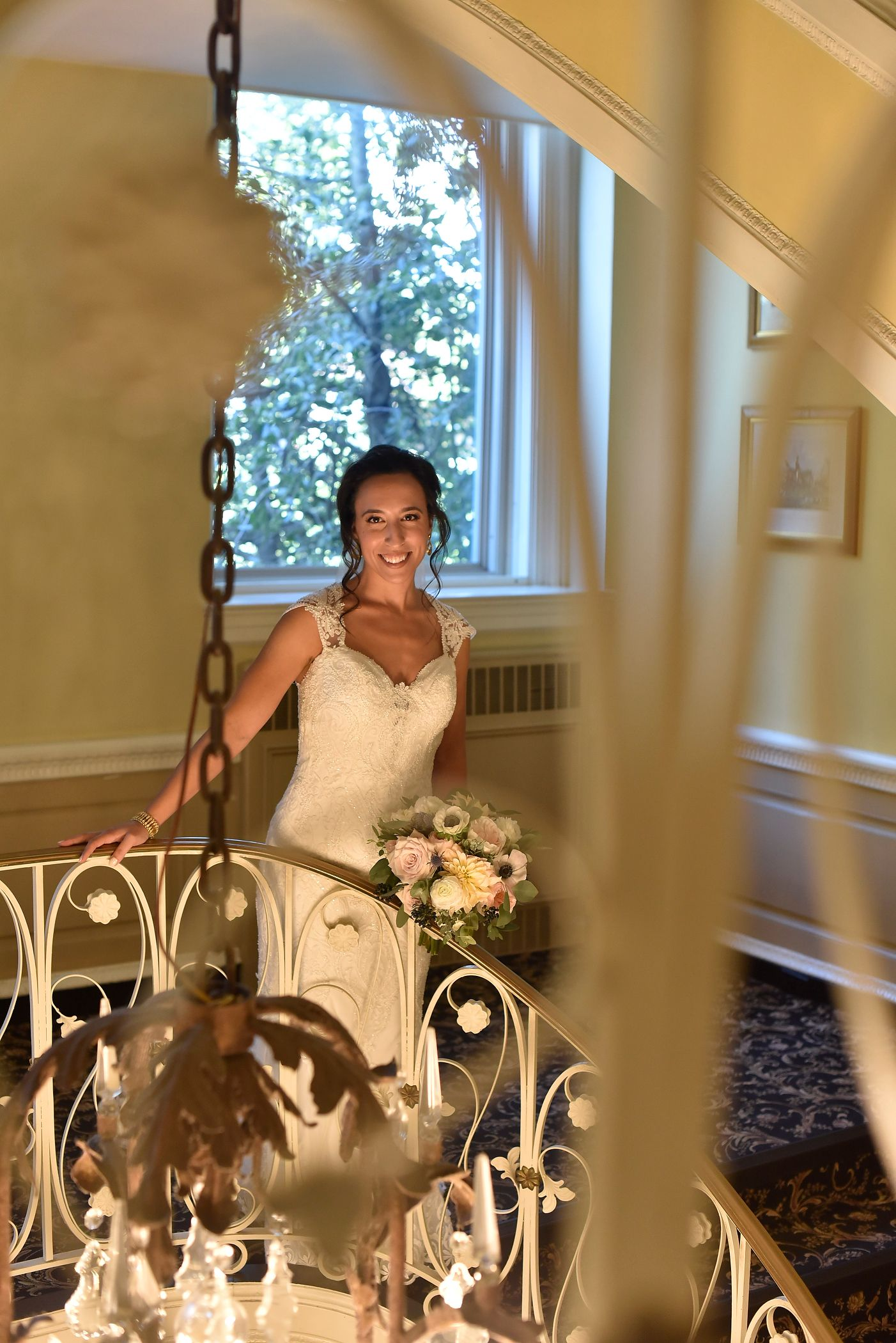 Our Bride and Bouquet On The Tarrytown House Stairs