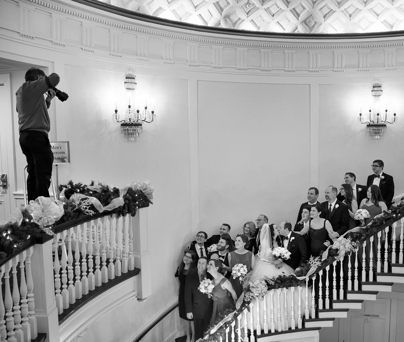 Bridal Party On The Rotunda Stairs at Tappan Hill