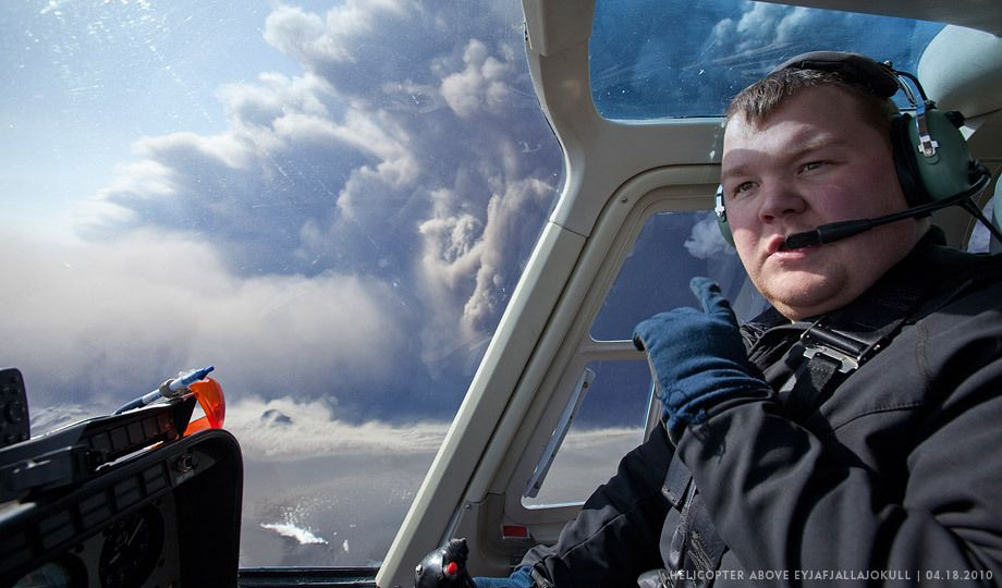 EICV0598Helicopter Pilot and Eyjafjallajökull Volcano Eruption, Iceland