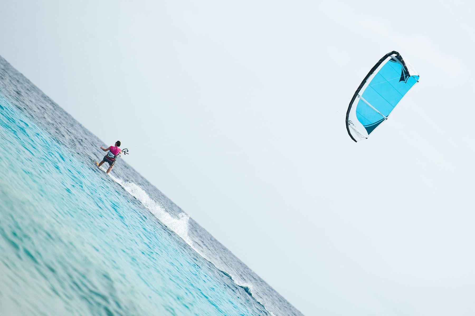 Kite boarder along the coast of Bonaire