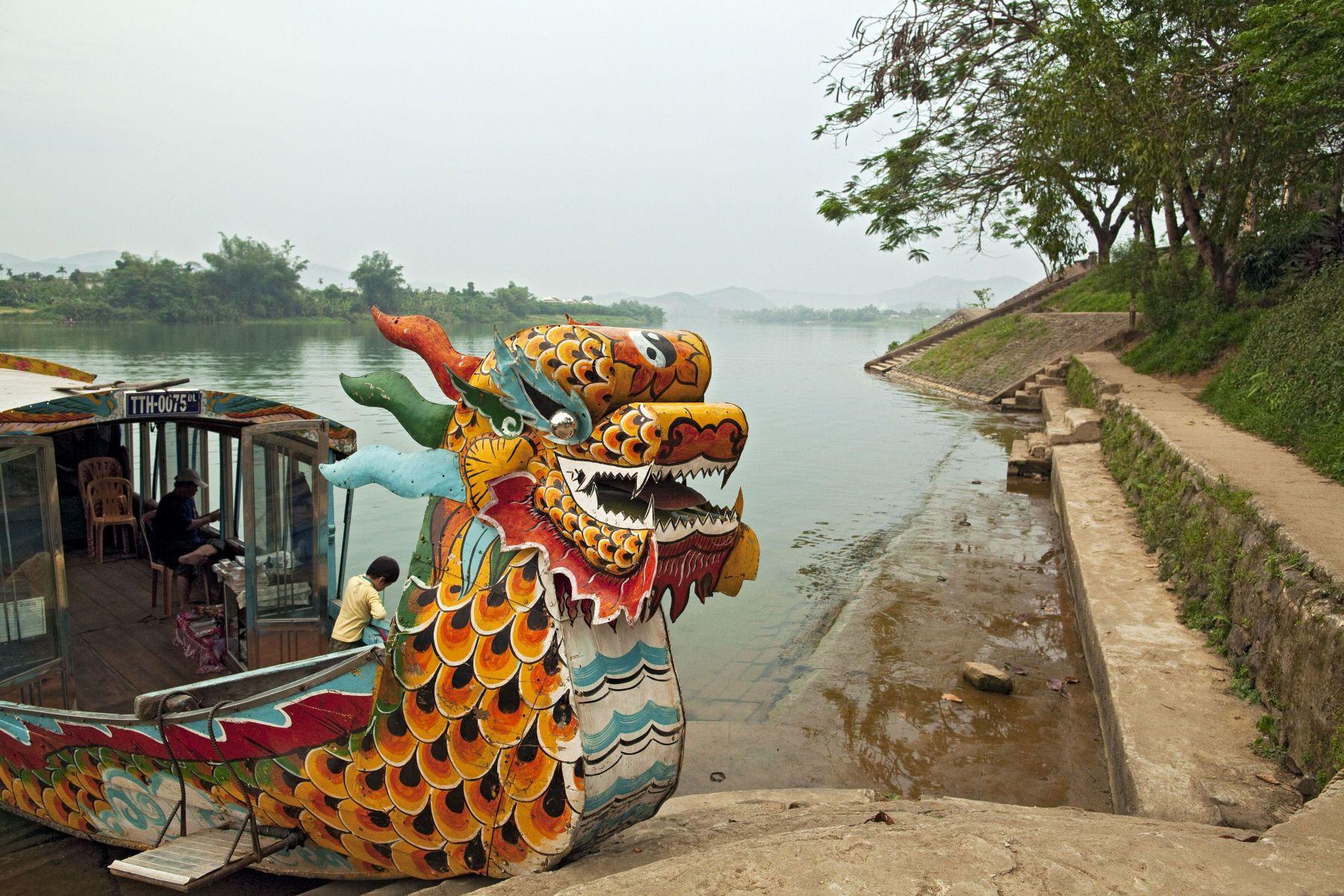 Thien Mu Budhist Temple water taxi.  Hue, Vietnam
