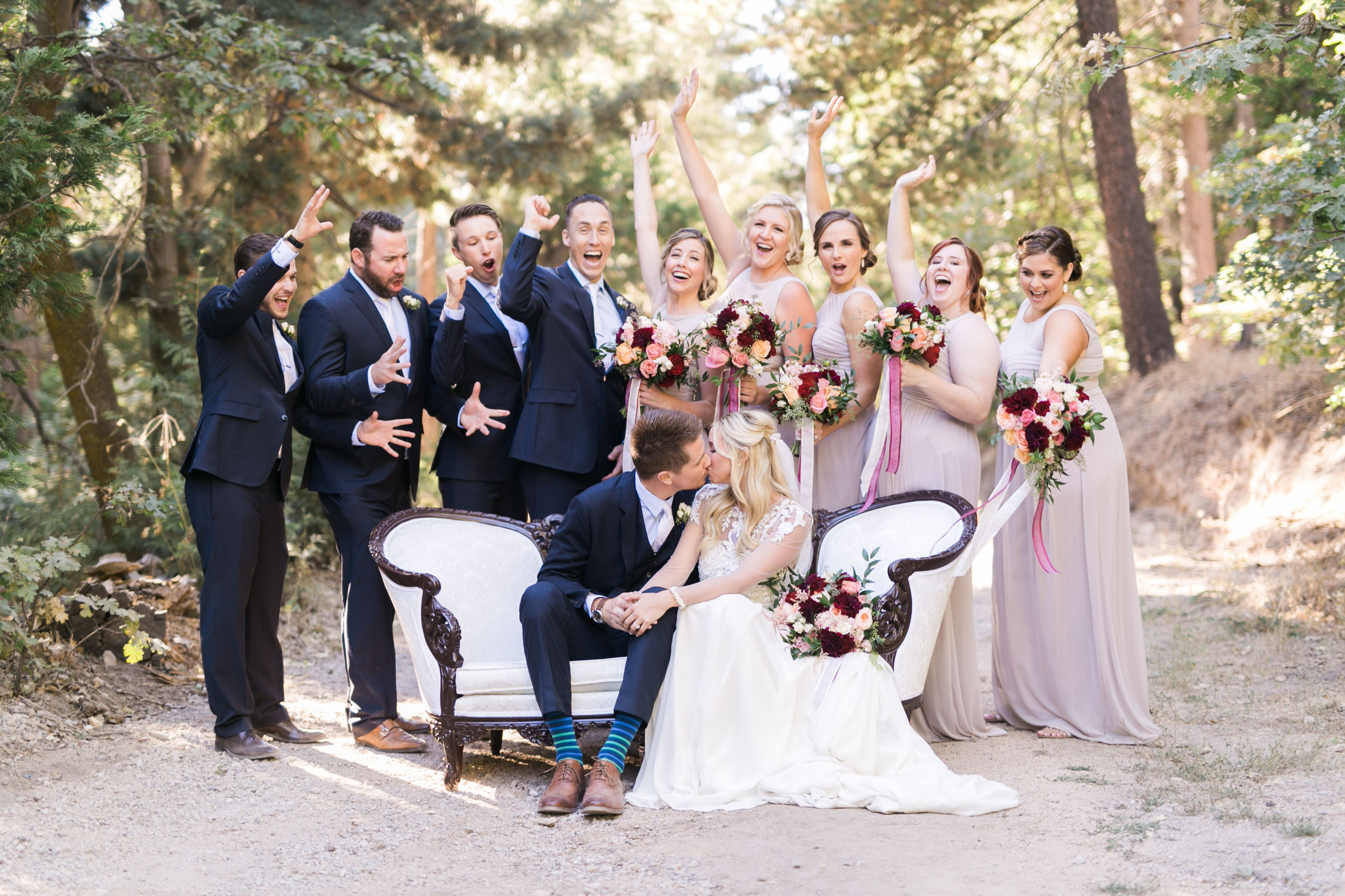 Hidden Creek  forest road with wedding party