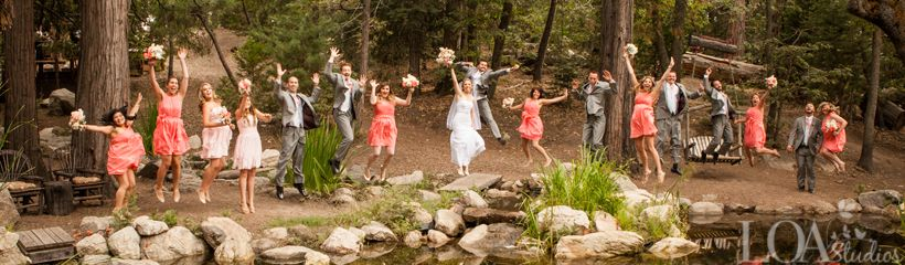 Wedding Party Jumping at the pond