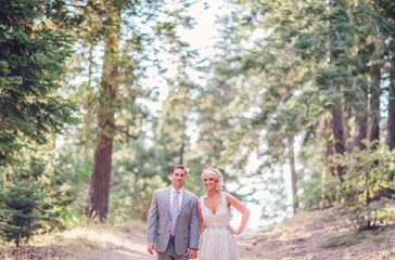 Wedding Couple with Forest Backdrop