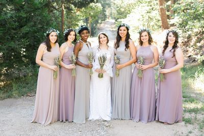 Bridesmaid in the Forest with Lavender Dress