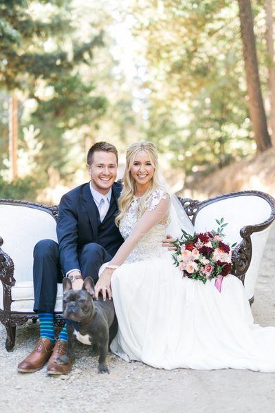 Wedding Couple with Dog
