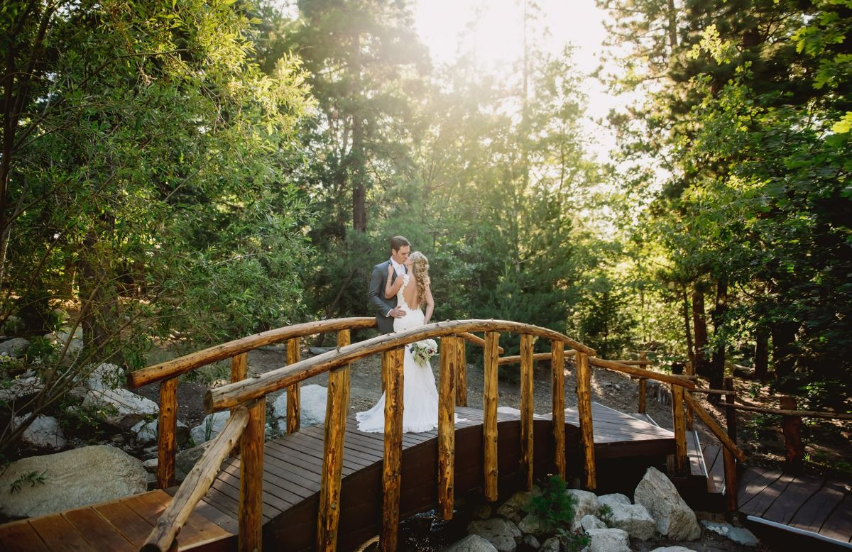 Rustic Bridge and Wedding Couple in Lake Arrowhead