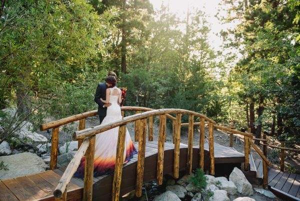 Colorful Brides on Bridge