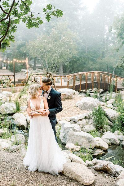 Bride and Groom at Hidden Creek Bridge