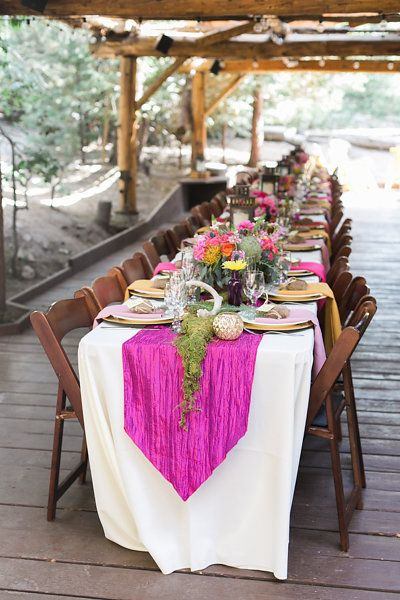 Long Table with Pink Runner