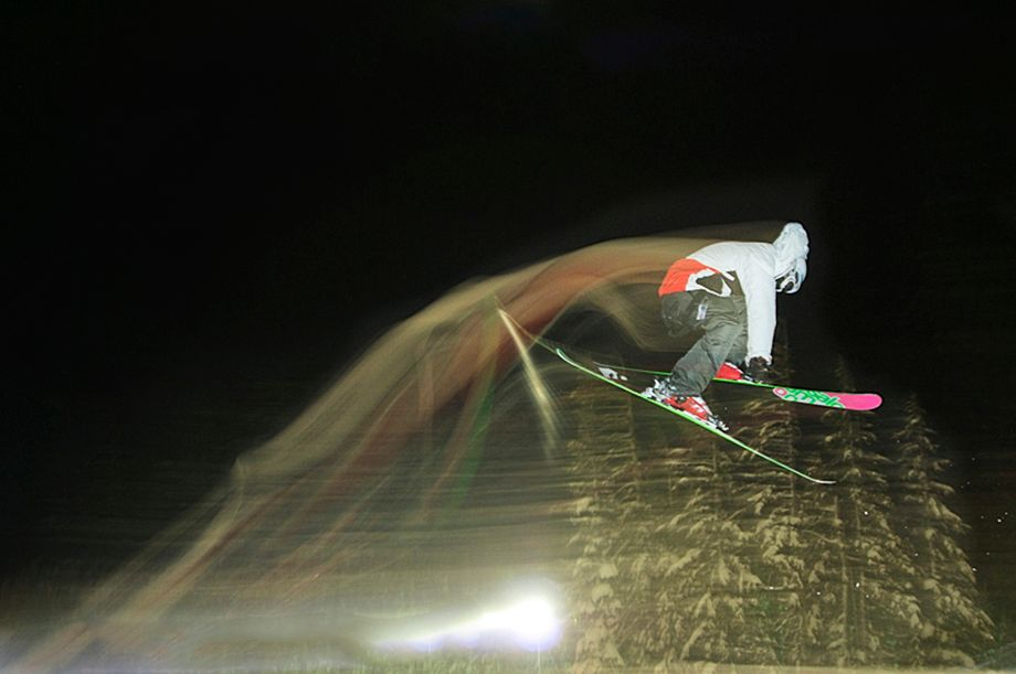 Hari Khalsa Skiing in the Terrain Park at Mt. Hood Meadows Ski Resort at Night, Oregon