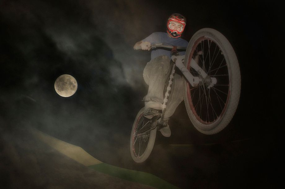 BMX Biker and Full Moon
