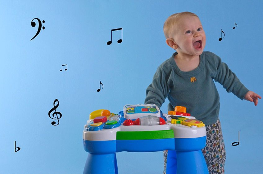 Baby Playing with His Music Stand on Blue