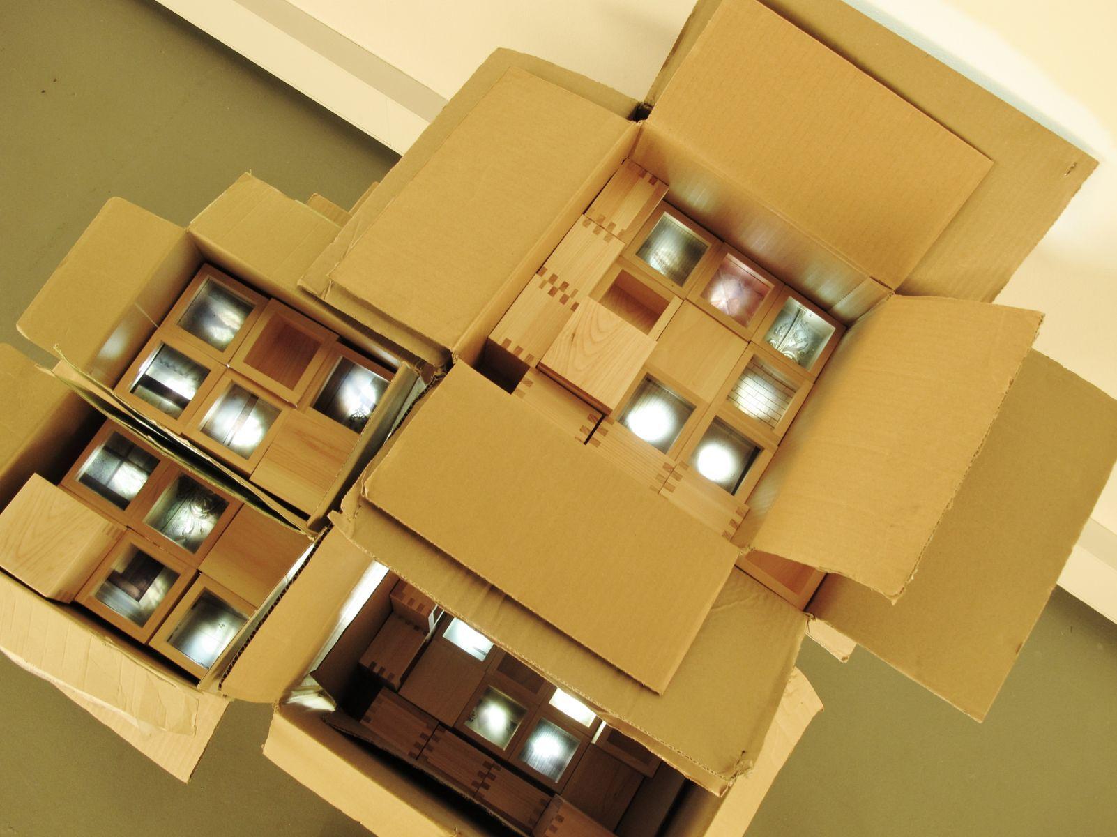 LifeboxJapanese Cypress masu boxes, cardboard, lightbox. Variable dimensions.