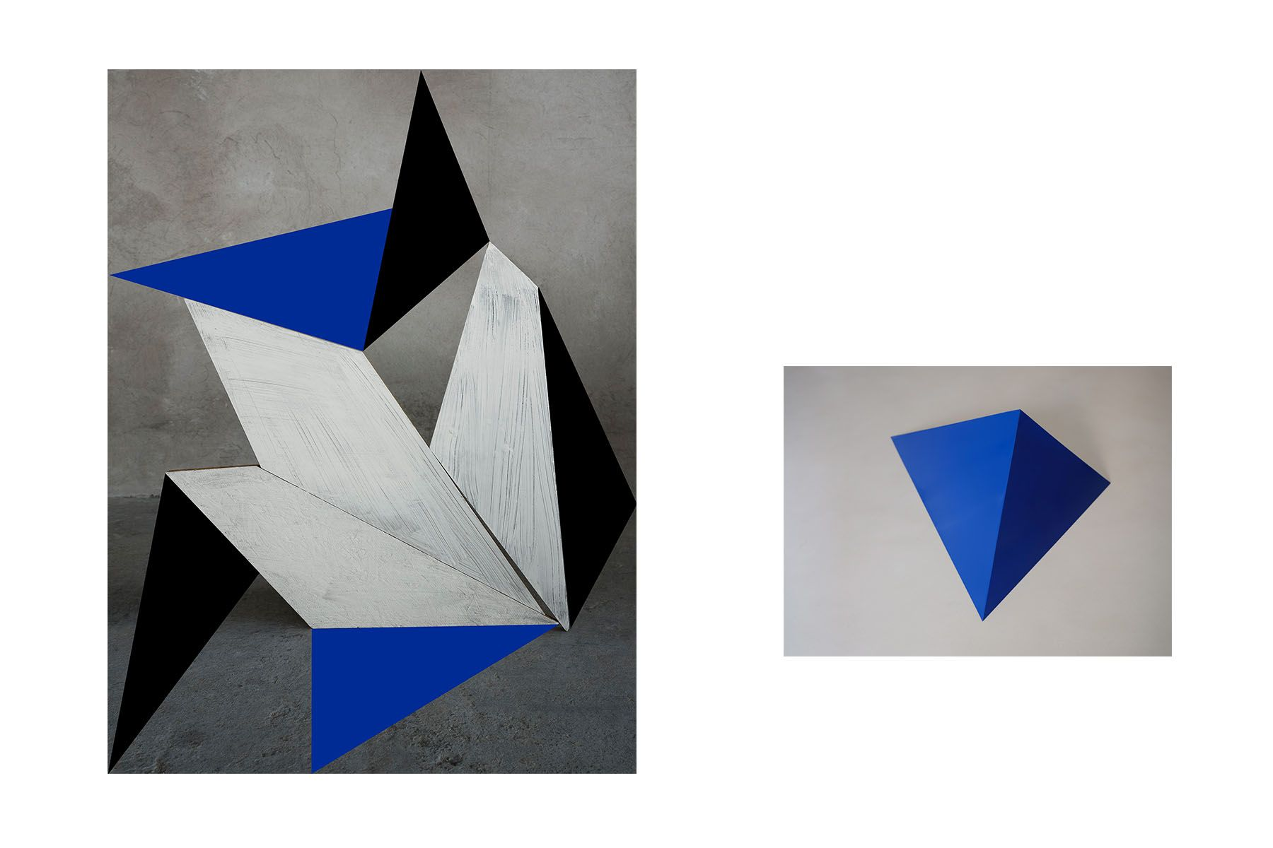 Blue Song, 2019 (left) /  Blue Pyramid Sculpture (right)