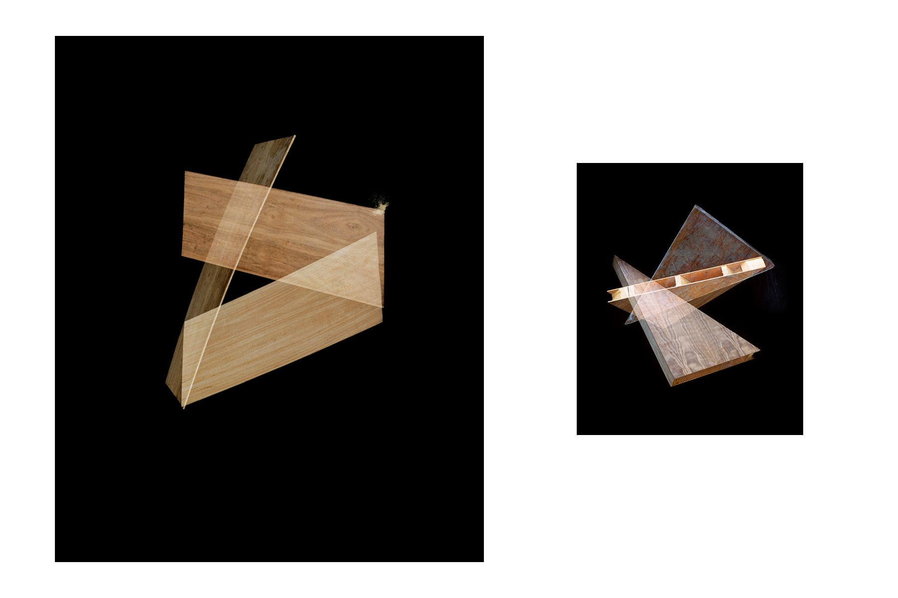 Tripartita, 2014 (left) ; Triangle Variations, 2014 (right)